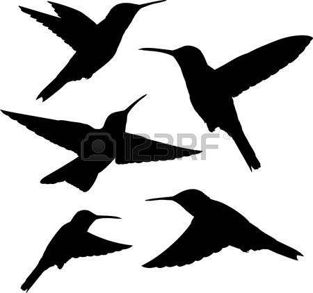 450x422 Hummingbird Set Of Five Detailed Black Hummingbird Silhouettes
