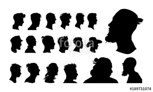 500x300 Set Of Detailed Man Head Avatar Face Silhouette Vector