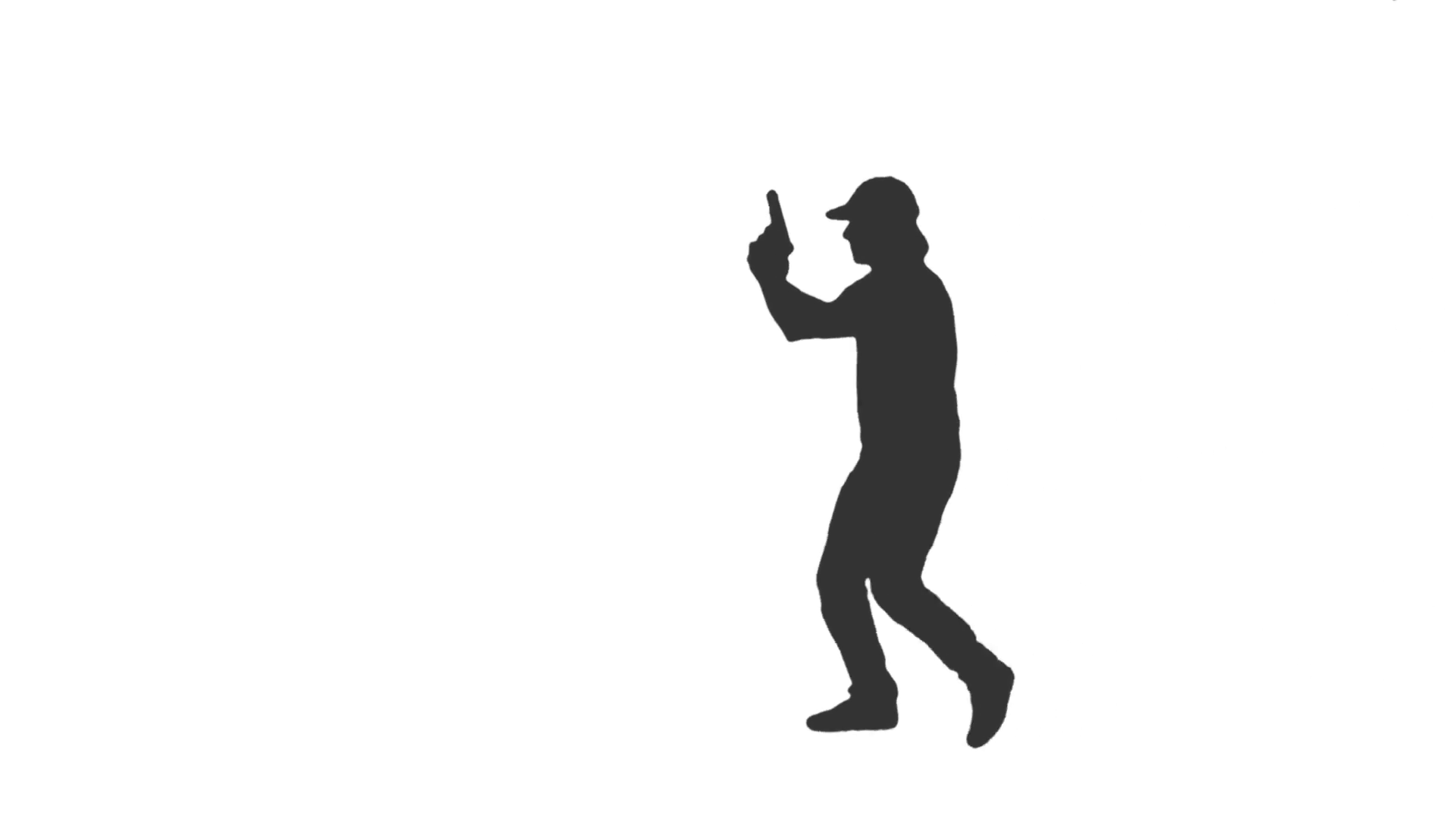 1920x1080 Silhouette Of Detective With A Gun Carefully Moving Forward. Side