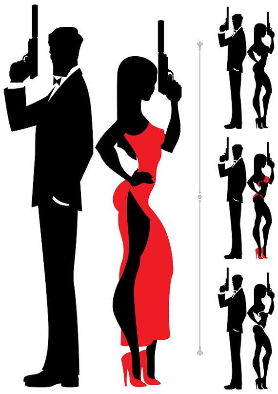 570x807 Spy Couple Vector Cartoon Illustration. Secret Agent