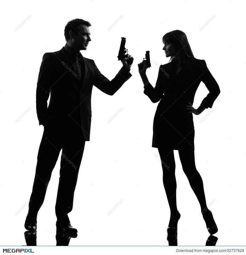 800x830 Couple Woman Man Detective Secret Agent Criminal Silhouette Stock