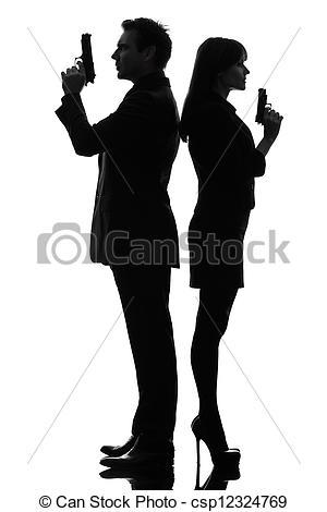 300x470 Couple Woman Man Detective Secret Agent Criminal Silhouette