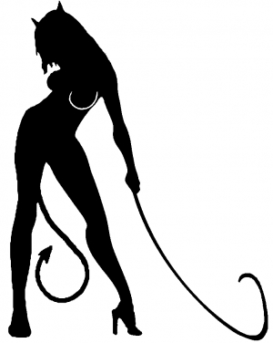 300x376 Devil Girl With Whip Car Or Truck Window Decal Sticker