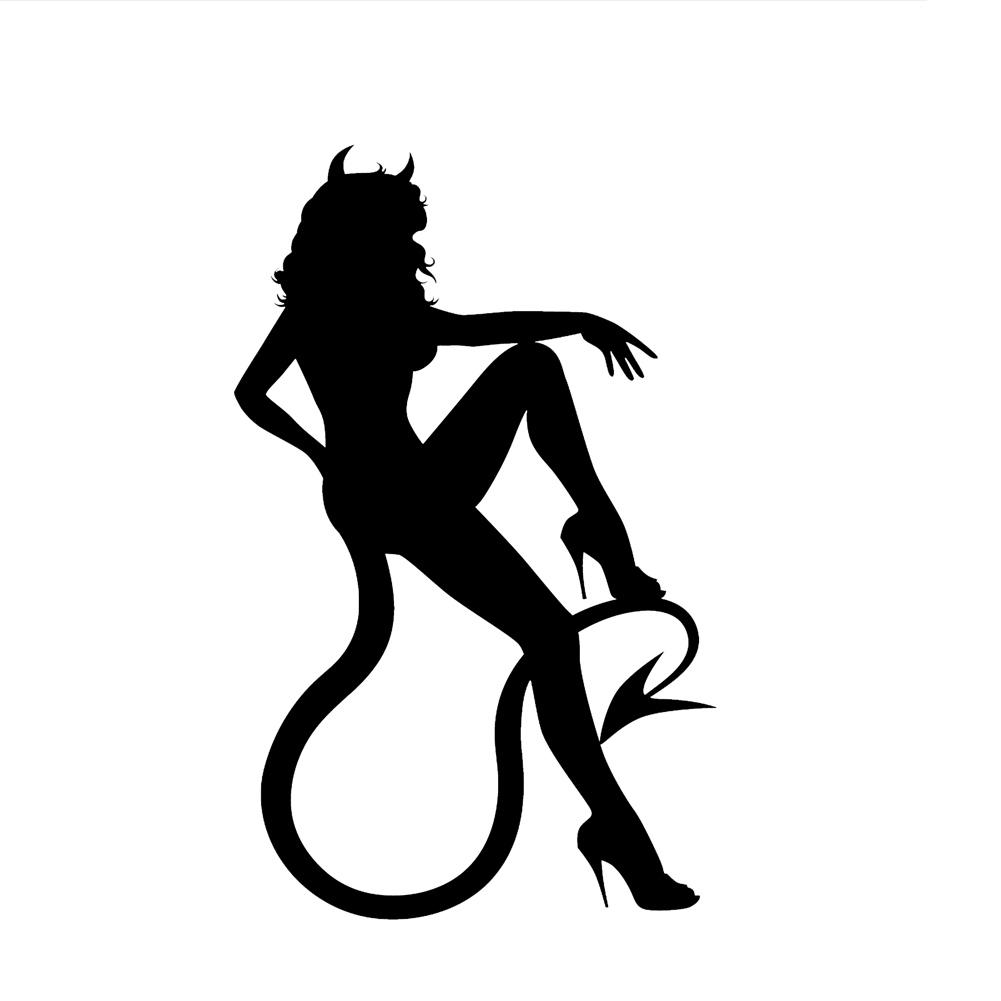 1001x1001 Devil Girl Sitting Horns Tail Vinyl Sticker Car Decal