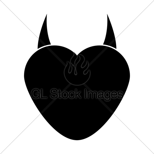 500x500 Heart With Devil Horn Black Color Icon Gl Stock Images