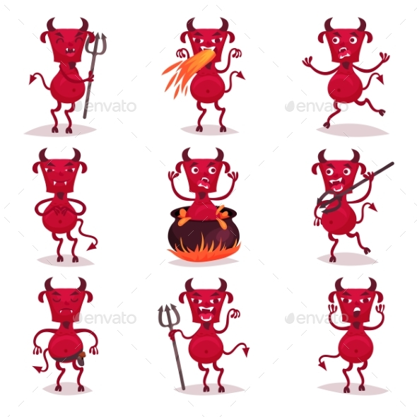 590x590 Red Devils With Horns And Tails Set, Demon By Happypictures