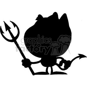 300x300 Royalty Free Cartoon Silhouette Little Devil With Pitchfork 378265
