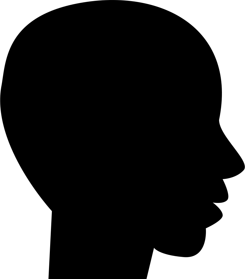 860x980 Head Side View Black Silhouette Of Male Bald Shape Svg Png Icon