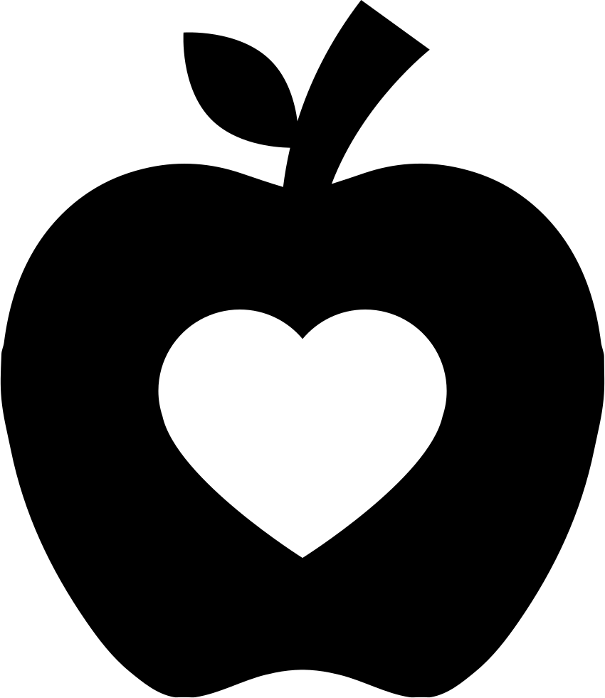 850x981 Apple Silhouette With Heart Shape Svg Png Icon Free Download