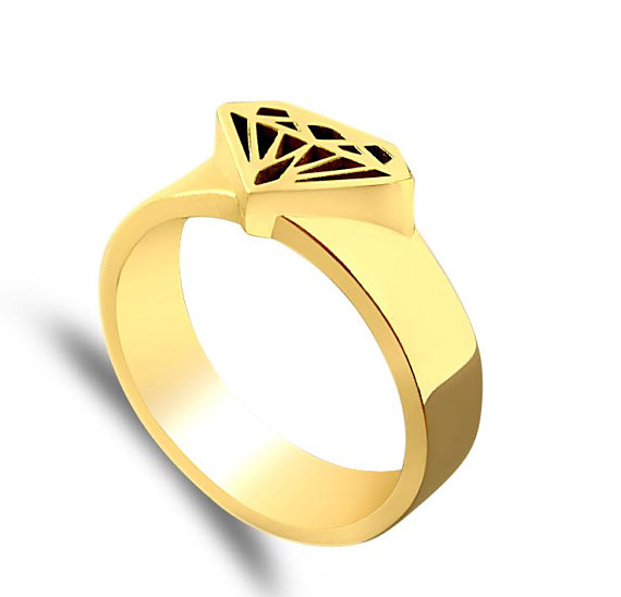 570x548 Gold Signet Ring Diamond Shape Gold Signet Ring Diamond