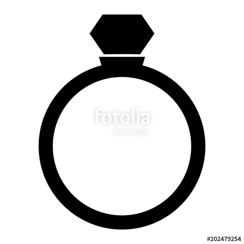 500x500 Minimalist, Black Diamond Ring Silhouette Icon. Isolated On White