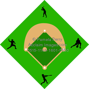 300x300 Clip Art Image Of A Baseball Diamond With Baseball Players