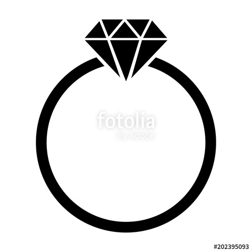 500x500 Simple, Flat, Black Silhouette Icon Of A Diamond Ring. Isolated