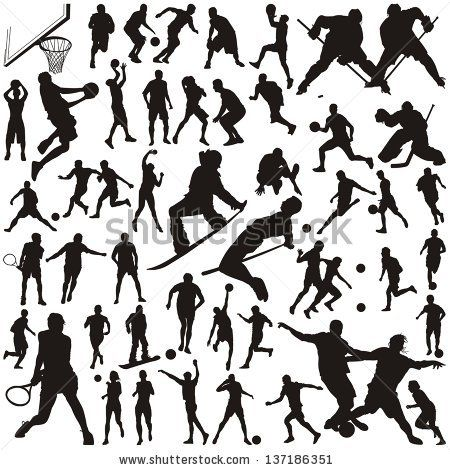 450x470 Set Of Vector Silhouettes Of People In Sports By Deliza, Via