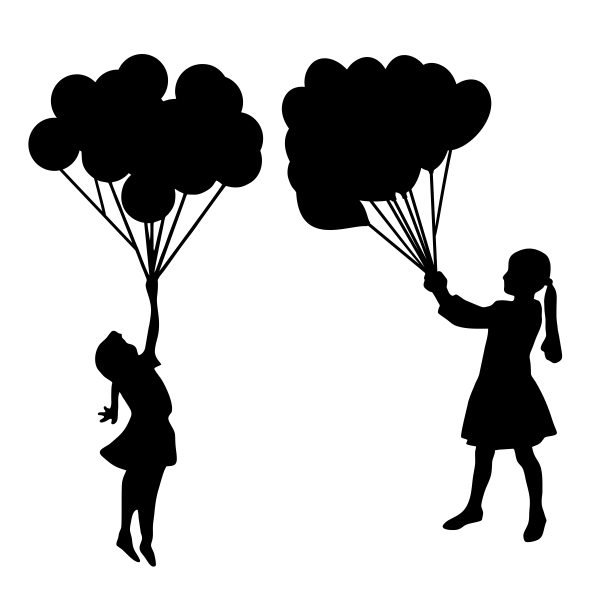 601x601 Girl Holding Balloons Silhouette Cuttable Design Cut File. Vector