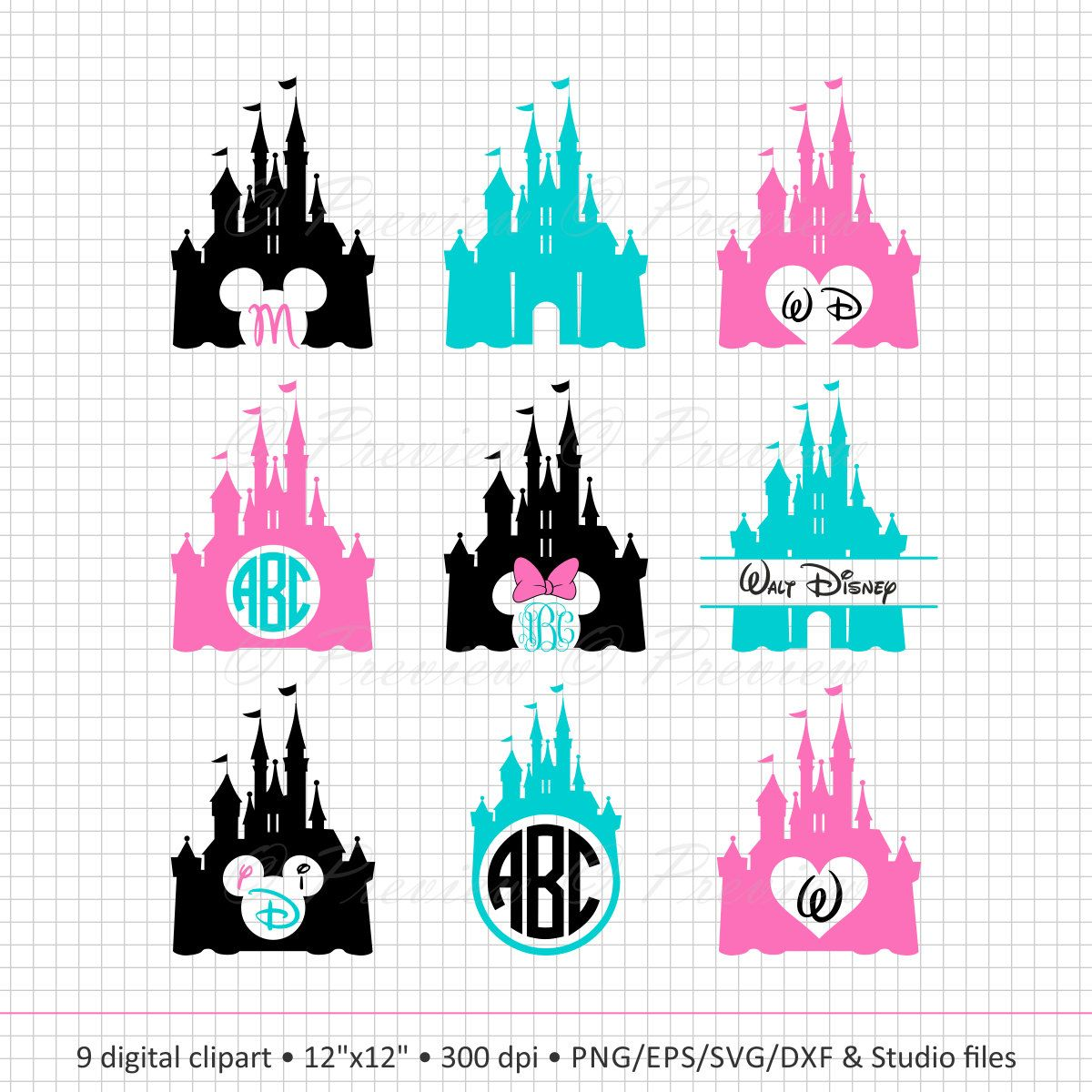 1200x1200 Buy 2 Get 1 Free! Digital Clipart Disney Castle Monogram
