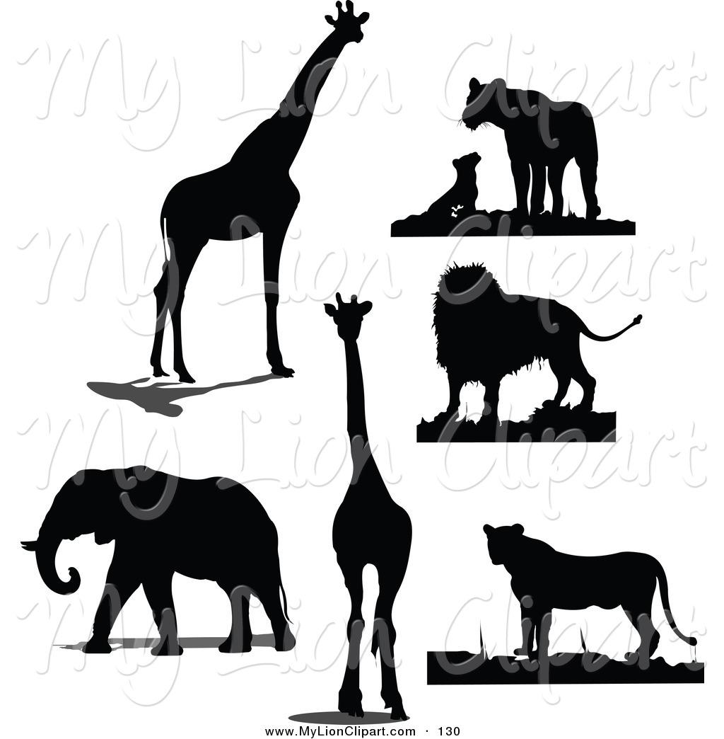 1024x1044 Clipart Of A Digital Set Of Black Giraffe, Lion And Elephant