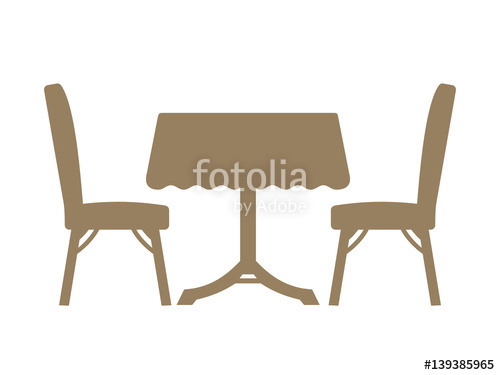 500x375 Dining Table Silhouette Isolated On White Background. Stock Image
