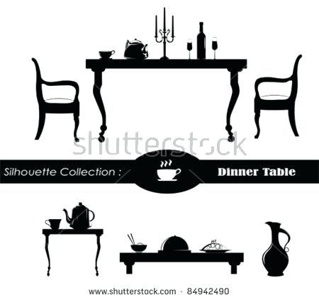 450x423 Table Silhouette Dining Room Vector Illustration Disney Silhouette