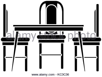 424x320 Dining Table And Chairs Vector Illustration Design Stock Vector