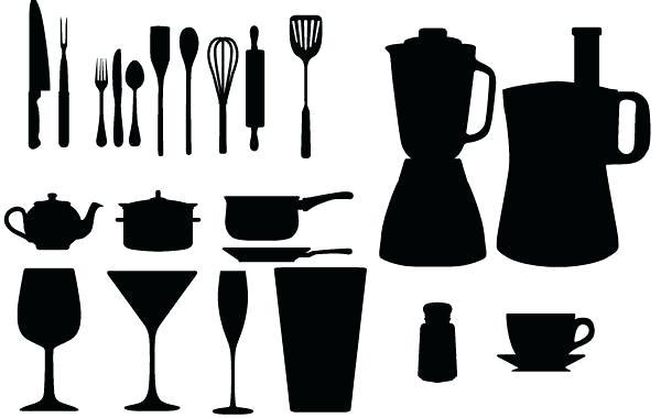 600x380 Kitchen Utensils Silhouette Vector Free Kitchen Utensils