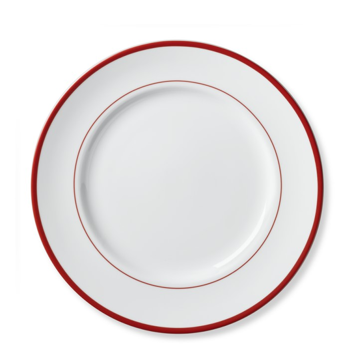 710x710 Brasserie Red Banded Porcelain Dinner Plates, Set Of 4 Williams