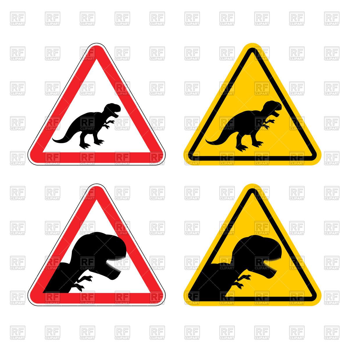 1200x1200 Warning Sign Of Attention Dinosaur Royalty Free Vector Clip Art