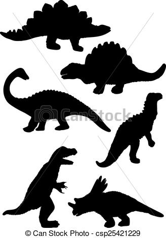 328x470 Dinosaur Silhouette Vector Illustration