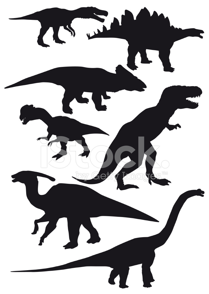 727x1024 Dinosaurs Vector Set Stock Vector