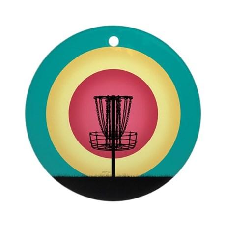 460x460 Disc Golf Basket Silhouette Ornament (Round) By Perkinsdesigns