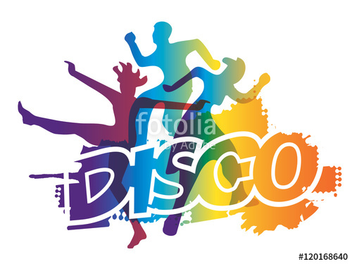 500x375 Disco Dance Party. Disco And Modern Dancing Dancers Silhouettes