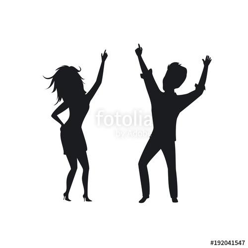 500x500 Silhouette Of Man Woman, Couple Disco Dancing , Clubbing Isolated