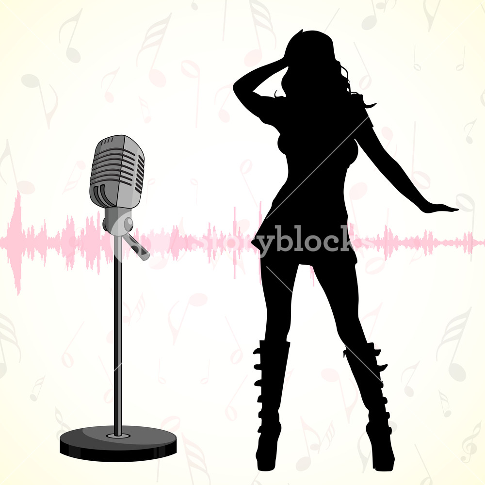 1000x1000 Musical Concept With Silhouette Of Dancing Disco Girl And Mike