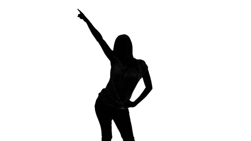 852x480 Silhouette Of Woman Doing Disco Gesture On White Background
