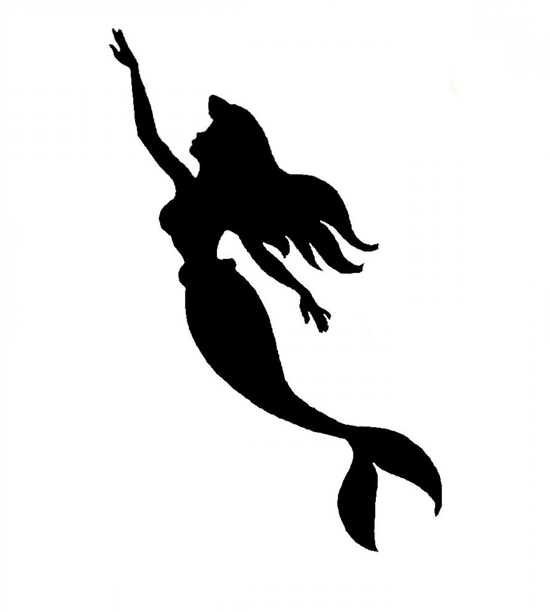 1080x1200 Ariel Mermaid Silhouette Clipart Tearing Printable