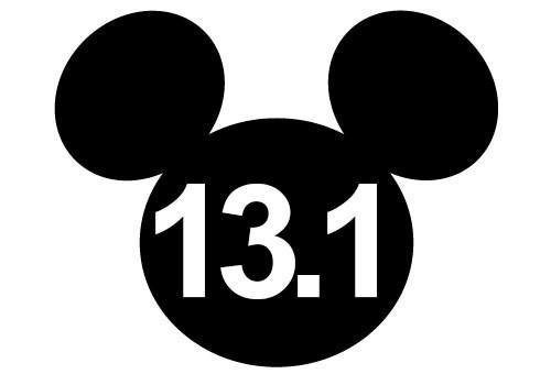 500x350 Disney Half Marathon Window Sticker, Mickey Mouse Silhouette