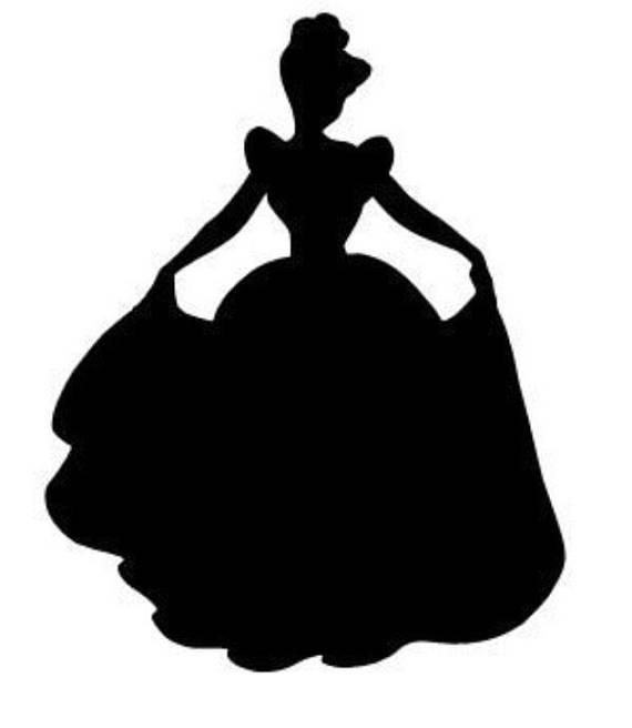 570x656 Cinderella Silhouette Vinyl Sticker. Disney Princess.
