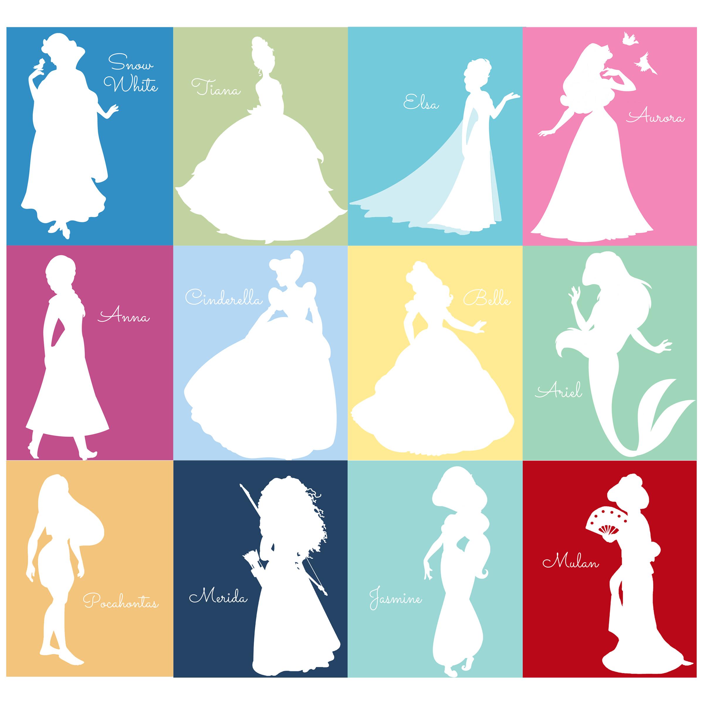 2400x2400 Free Disney Princess Silhouette Prints