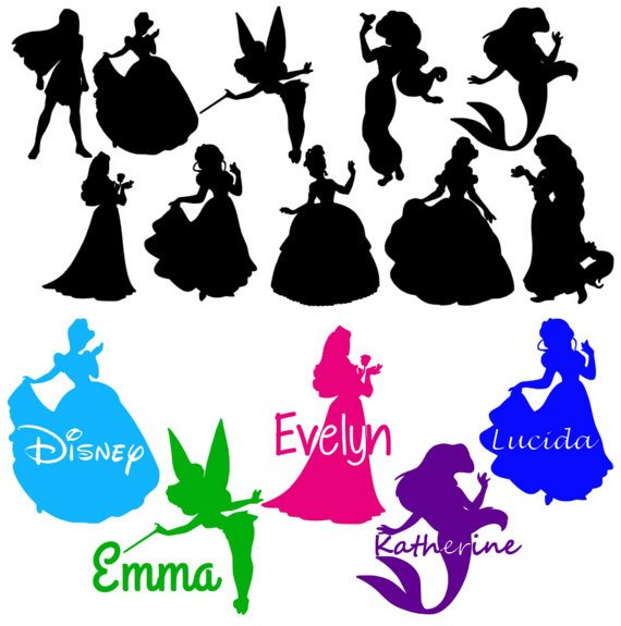 570x575 Personalized Disney Princess Inspired Silhouette Iron On Heat