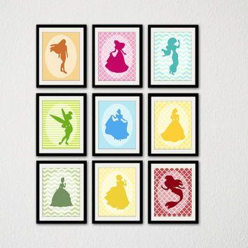 354x354 Disney Princess Silhouette Print Set. Set Of 9. Minimalist Disney