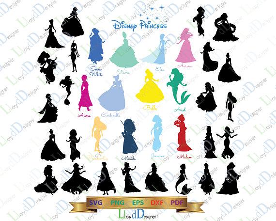 570x456 Disney Princess Svg Disney Princesses Silhouette Disney