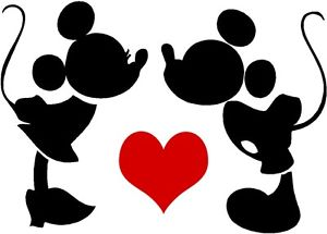 300x215 Custom Vinyl Decal Run Disney Mickey Minnie Love Silhouette Heart