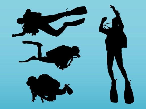 580x435 Free Scuba Diver Silhouette Clip Art