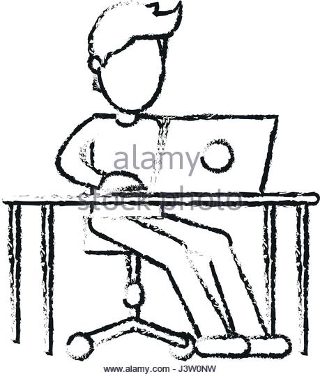 459x540 Silhouette Of Man And Desk Illustration Stock Photos Amp Silhouette