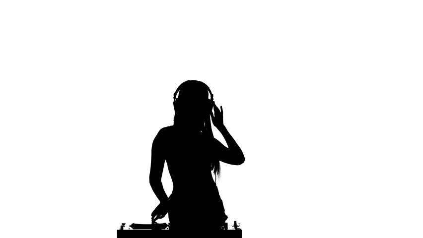 852x480 Dj Girl Dancing In Headphones And Listening To Music. White