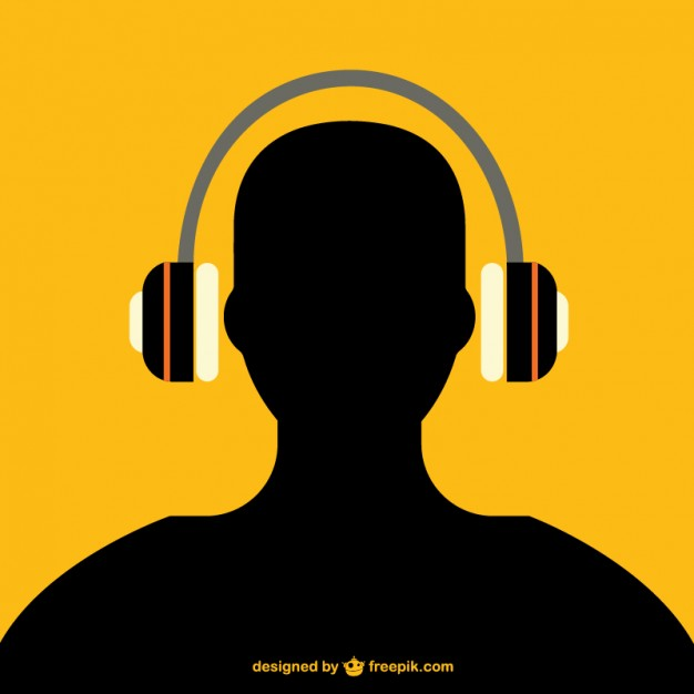 626x626 Man With Headphones Silhouette Vector Free Download