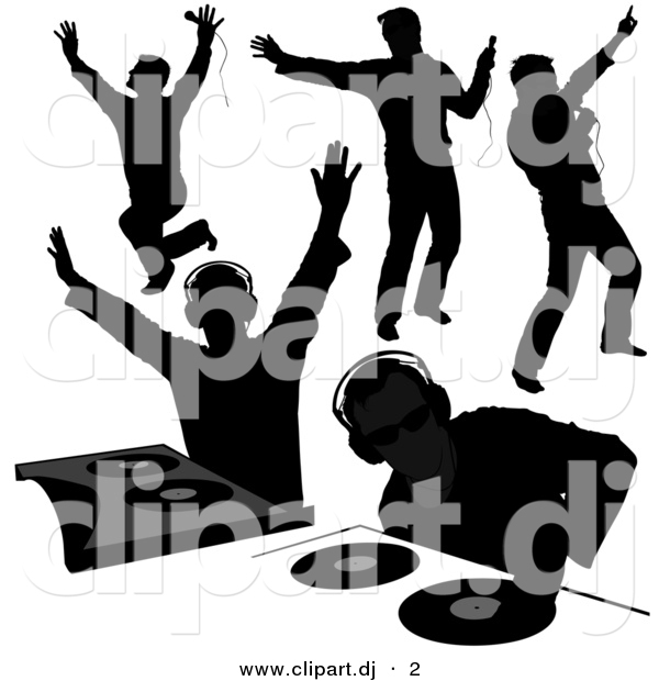 600x620 Vector Clipart Of A 5 Unique Disk Jockey Silhouettes