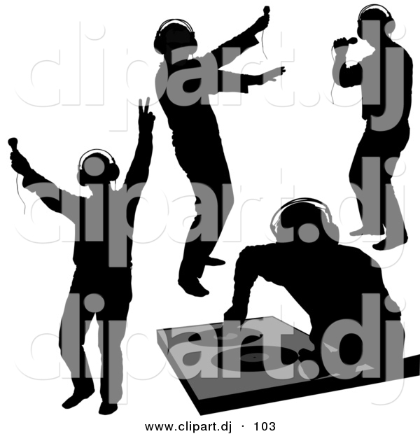600x620 Vector Clipart Of A Disk Jockey Silhouettes