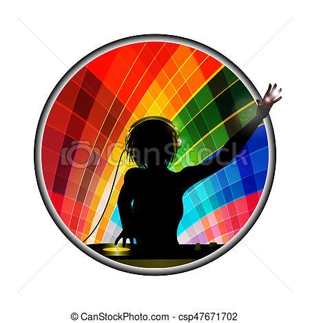 450x470 Female Dj Silhouette In Multicoloured Border. Female Dj Stock