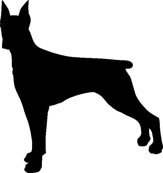 564x597 Doberman Dog Silhouette Clip Art